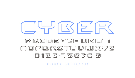 Hollow extended sans serif font in cyber style. Letters and numbers for sci-fi, movie, cyber and space design. Isolated on white background Çizim