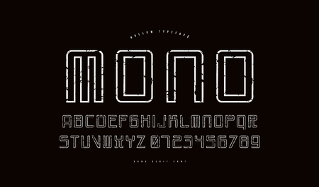 Hollow mono spaced sans serif font in cyber style. Letters and numbers with vintage texture for sci-fi, cosmic and emblem design. White print on black background