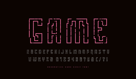 Hollow sans serif font in cyber style. Letters and numbers with vintage texture for sci-fi, cosmic and emblem design. Color print on black background