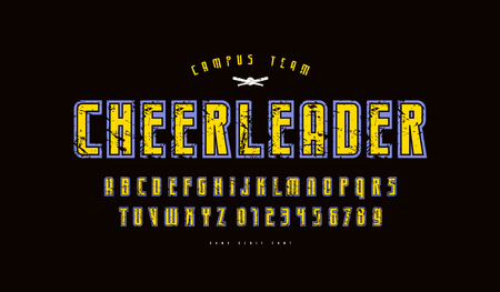 Narrow sans serif font with contour. Letters and numbers with vintage texture for athletic and t-shirt design. Color print on black background