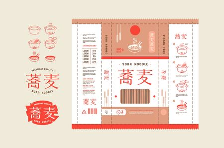Template label for soba noodle packaging. Icons in thin line style for cooking instructions Vektorové ilustrace