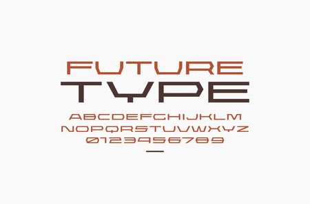 Ultra expanded geometric sans serif font in sport style. Letters and numbers for sci-fi, military, racing and title design. Color print on white background