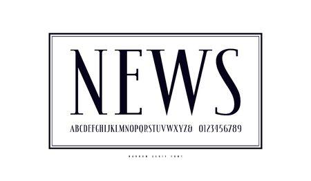 Elegant narrow serif font in antique style.