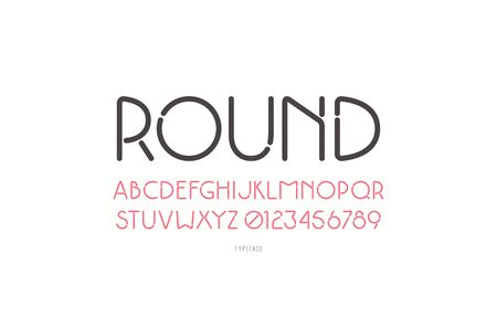 Decorative sans serif font with rounded corners. Typeface in thin line style. Isolated on white background