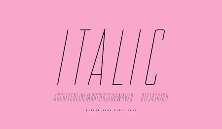 Condensed italic sans serif font. Hair line face. Letters and numbers for label design. Print on pink background