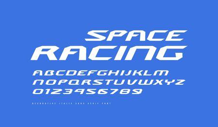 Carattere corsivo esteso sans serif. Lettere e numeri per fantascienza, corse e spazio