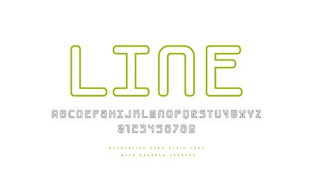 Hollow monospaced sans serif font with rounded corners. Letters and numbers for logo and emblem design. Isolated print on white background