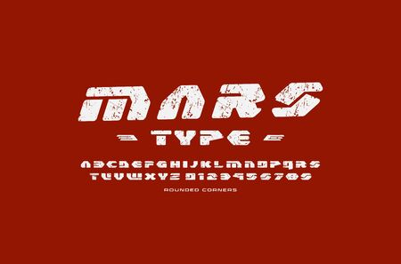 Geometric sans serif font in futuristic style. Letters and numbers with rounded corners and rough texture for sci-fi, military, cosmic logo and title design. White print on red background