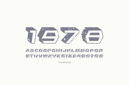 Geometric sans serif font with drop shadow. Letters and numbers with vintage texture for sci-fi, military, retro logo and title design. Gray print on white background