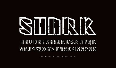 Hollow stencil-plate sans serif font. Futuristic style typeset. Letters and numbers with vintage texture for sci-fi, military, sport logo and emblem design. White print on black background