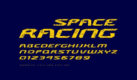 Italic extended sans serif font. Letters and numbers with rough texture for sci-fi, racing and space logo design. Yellow print on dark blue background Иллюстрация
