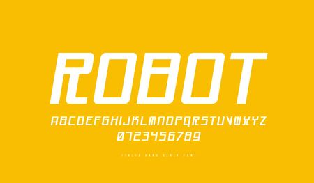Italic sans serif font in cyber style. Letters and numbers for sci-fi, racing logo and emblem design. White print on yellow background Иллюстрация