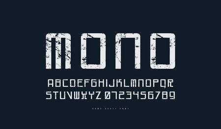 Monospaced sans serif font in cyber style. Letters and numbers with rough texture for sci-fi, cosmic logo and emblem design. White print on black background