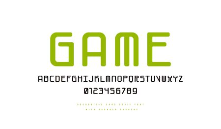 Monospaced sans serif font with rounded corners. Letters and numbers for logo and emblem design. Color print on white background