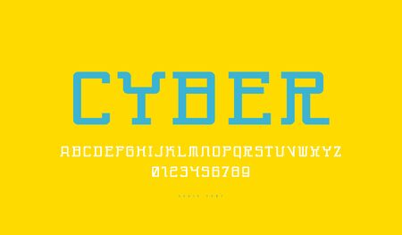 Monospaced serif font in cyber style. Letters and numbers for sci-fi, sport logo and emblem design. Color print on yellow background