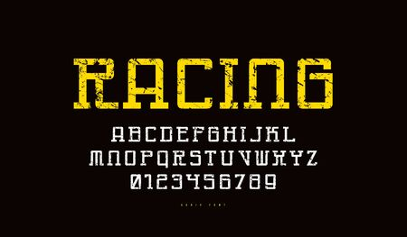 Monospaced slab serif font in cyber style. Letters and numbers with rough texture for sci-fi, sport logo and emblem design. Color print on black background
