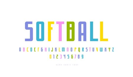 Narrow sans serif font in sport style. Letters and numbers for athletic logo and emblem design. Color print on white background
