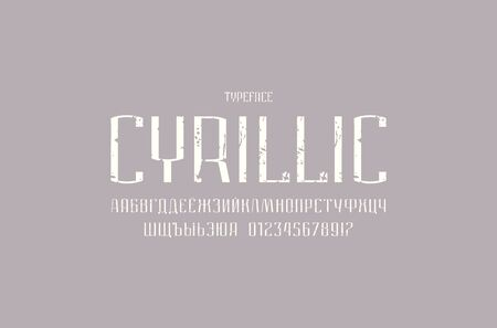 Narrow sans serif font in urban style. Medium face. Cyrillic letters and numbers with vintage texture for logo and label design. White print on gray background Иллюстрация