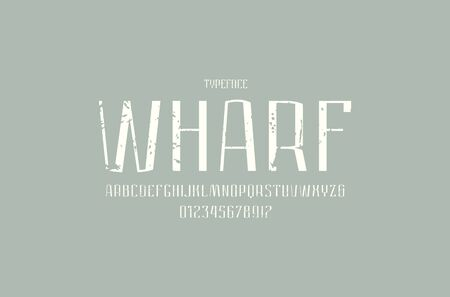 Narrow sans serif font in urban style. Medium face. Letters and numbers with vintage texture for logo and label design. White print on gray background Иллюстрация
