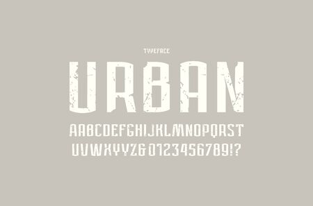 Narrow sans serif font in urban style. Letters and numbers with vintage texture for logo and label design. White print on gray background