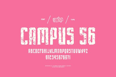 Stock vector narrow sans serif handcrafted font, alphabet, typeface. Letters and numbers with vintage texture for logo and t-shirt design. White print on pink background