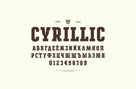 Original cyrillic slab serif font. Bold face. Letters and numbers for logo and emblem design. Print on white background