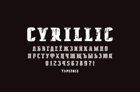 Original solid slab serif font in military style. Extra bold face. Cyrillic letters and numbers with vintage texture for logo and title design. Color print  on black background