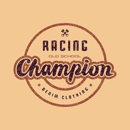 Racing champion emblem for t-shirt. Color print on yellow background
