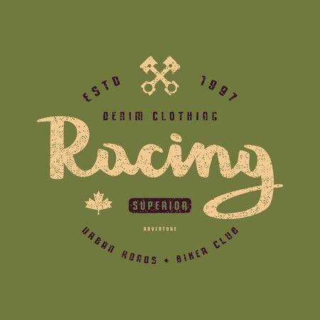 Racing club emblem for t-shirt. Color print on green background Иллюстрация