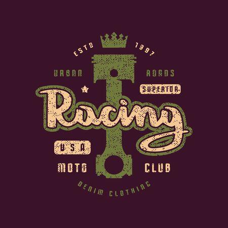 Racing emblem for t-shirt. Color print on violet background