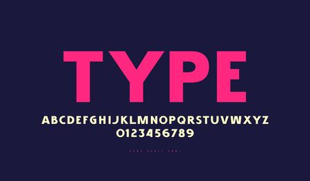 Sans serif font in classic style. Bold face. Letters and numbers for logo and label design. Color print on blue background