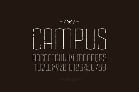 Sans serif font in the sport style. Thin line typeface. Letters and numbers with vintage texture for logo and emblem design. White print on black background