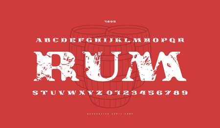 Decorative extended serif font. Bold face. Letters and numbers with vintage texture for logo and label design. Print on red background