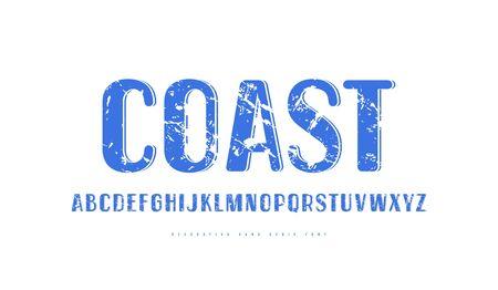 Dekorative serifenlose Schrift im Retro-Stil mit abgerundeten Ecken. Buchstaben mit grober Textur für Logo- und Etikettendesign. Blaudruck auf weißem Hintergrund