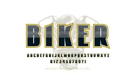 Decorative sans serif font with contour. Letters and numbers for logo and t-shirt design in sport style. Color print on white background
