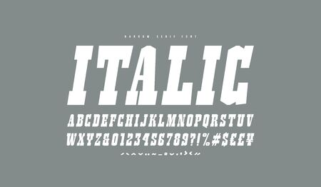 Italic slab serif font in the western style. Letters and numbers for logo and title design.  White print on gray background