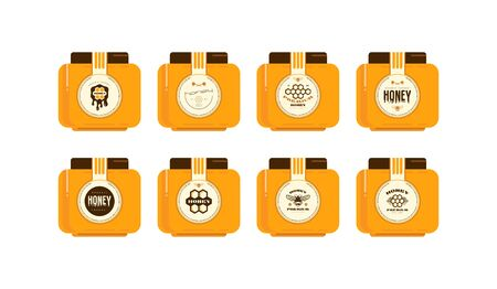 Set of template labels for honey. Presentation on the jar. Round labels design  イラスト・ベクター素材