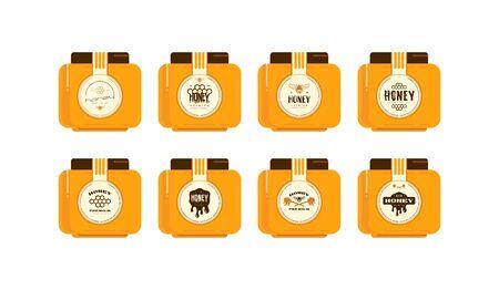 Set of template labels for honey. Presentation on the jar. Round labels design Иллюстрация