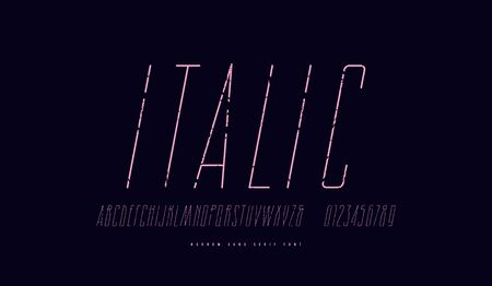 Condensed italic sans serif font. Hair line face. Letters and numbers with vintage texture for logo and label design. Print on black background