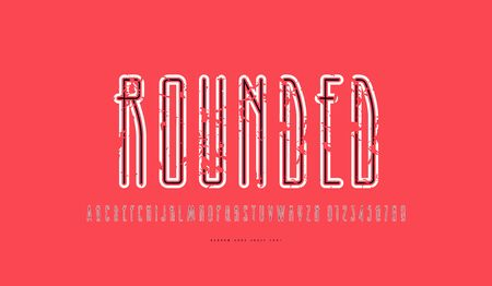 Condensed sans serif font with rounded corners and contour. Letters and numbers with vintage texture for logo and t-shirt design. Color print on red background
