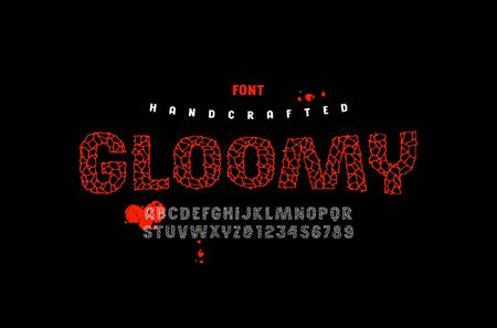 Sans serif handcrafted font, alphabet, typography. Typeface with cracked face. Letters and numbers for movie, halloween logo and headline design. Color print on black background