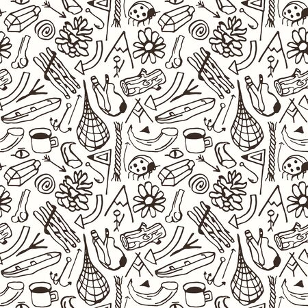 Seamless pattern in the style of hand-drawn graphics. Camping and hiking theme. Black print on white background