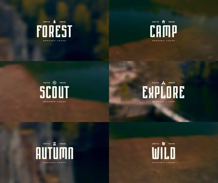 Set of blurred backgrounds with image of nature and camping emblems. Design for web banner, card and flyer