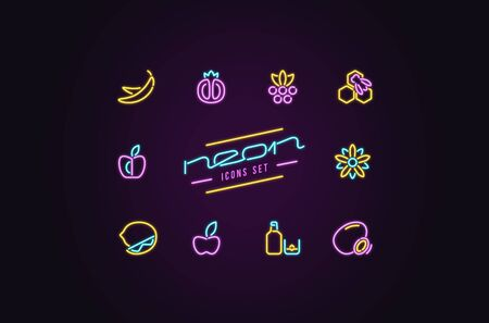 Set of fruit and dessert icons in the form of neon lamps. Design for casino and cinema signboard. Color print on dark background Illustration