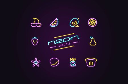 Set of fruit icons in the form of neon lamps. Design for casino and cinema signboard. Color print on dark background