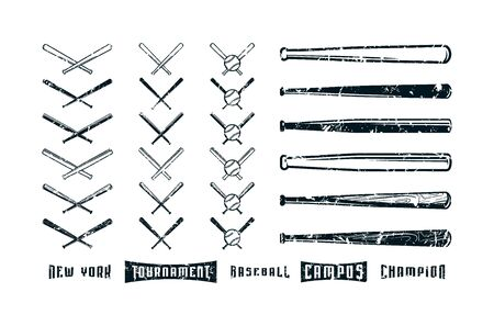 Set of images of baseball bats. Horizontal and crossed version. Design with vintage texture. Black print on white background
