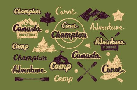 Set of lettering and element for t-shirt. Graphic design on the theme of camping, hiking, rafting, tourism and active lifestyle. Color print on green background Çizim