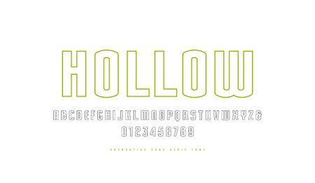 Hollow sans serif font. Letters and numbers for logo and label design. Isolated on white background