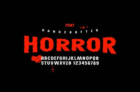 Stock vector sans serif handcrafted font, alphabet, typography. Letters and numbers for movie, halloween logo and headline design. Color print on black background Illusztráció