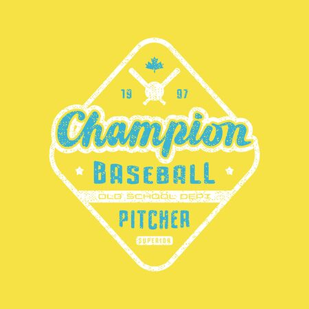 Rhombus emblem of champions baseball team. Graphic design for sticker and t-shirt. Color print on yellow background